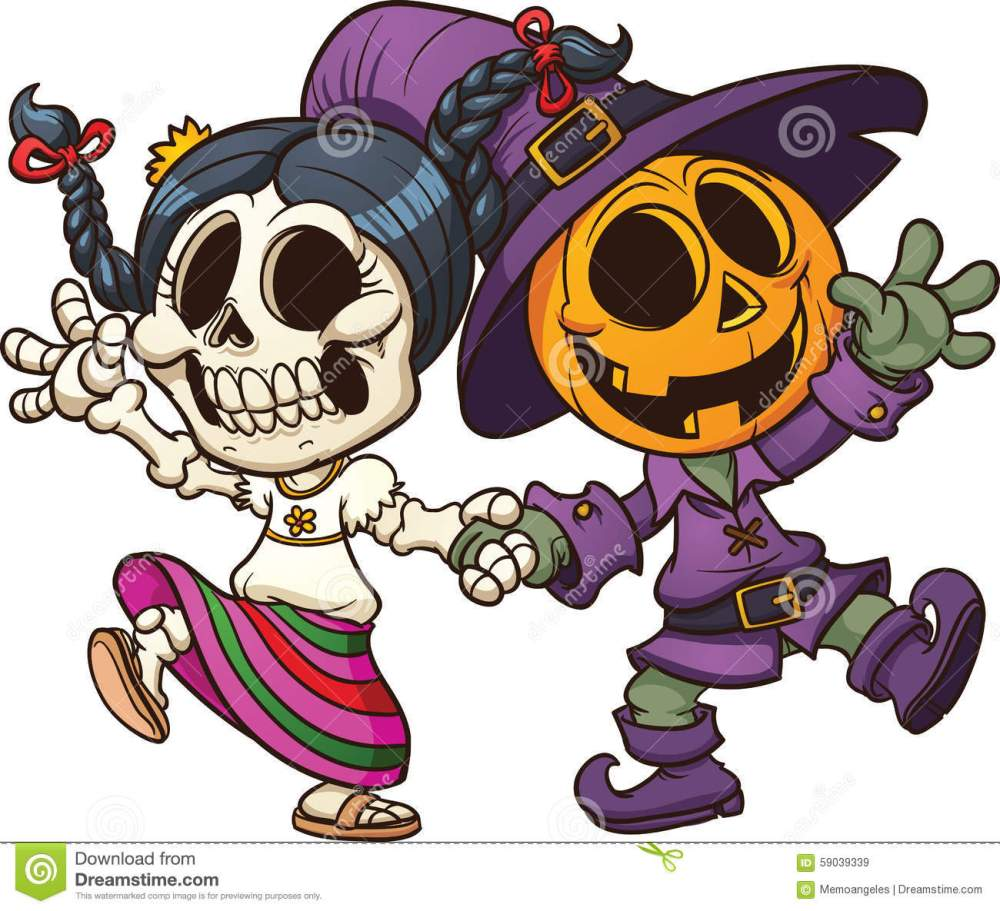 medium resolution of day of the dead and halloween characters