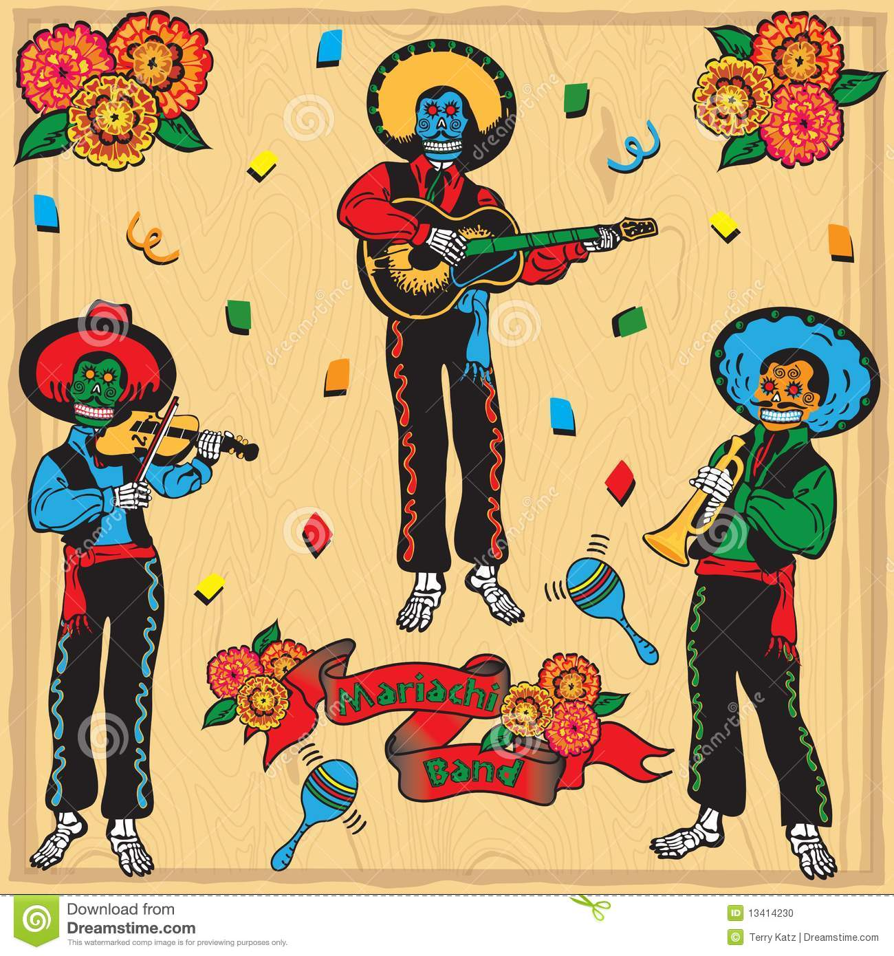 hight resolution of day of the dead mariachi band