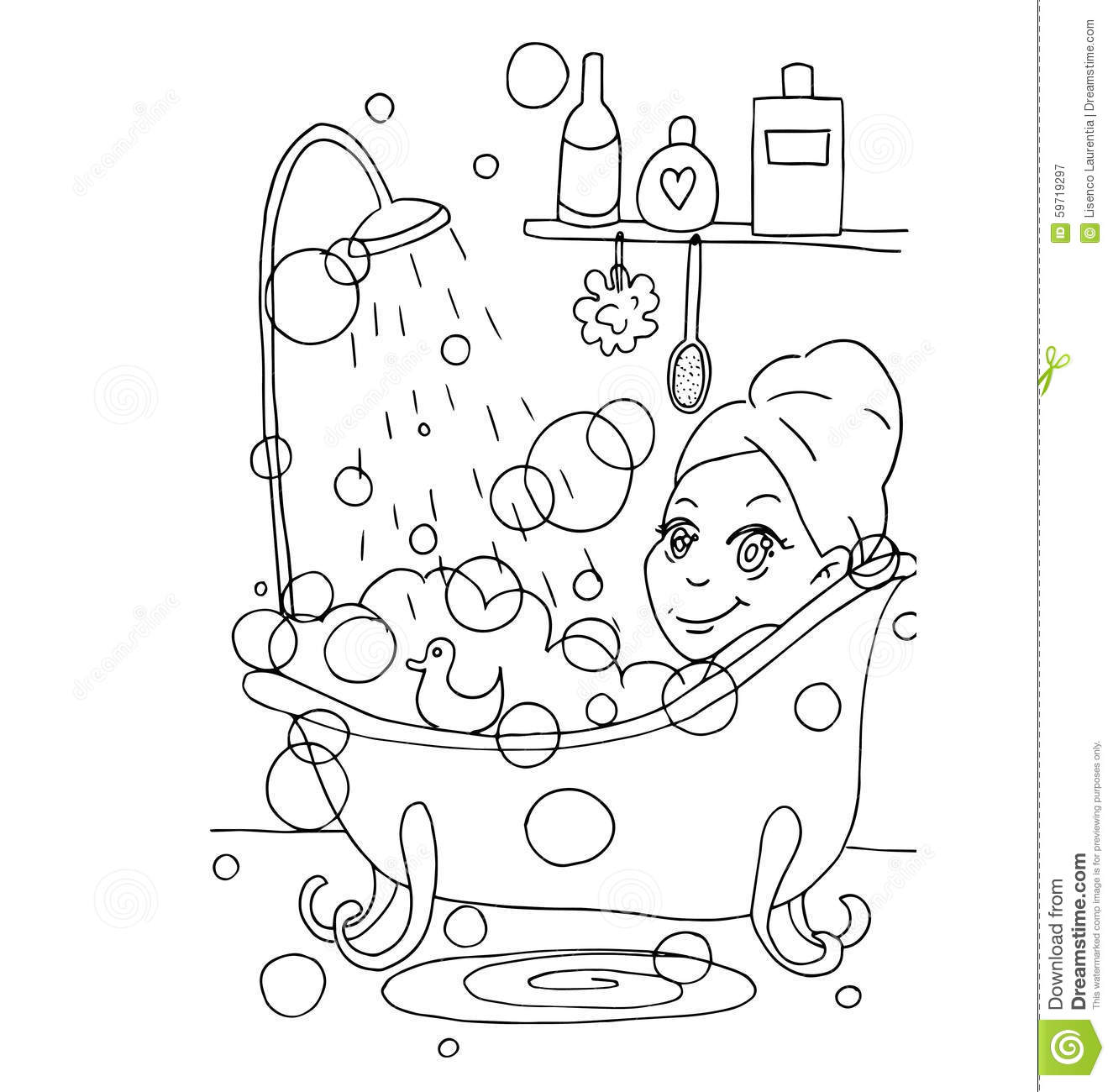The Daily Day For Girl Student For Coloring Stock Vector
