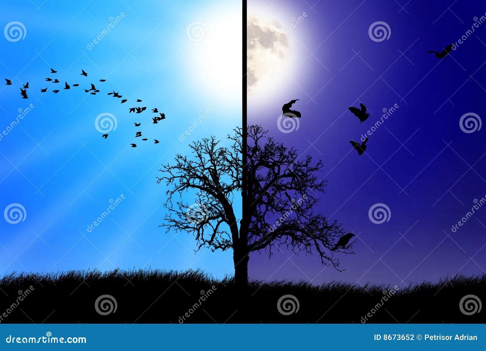 Day Versus Night Concept Stock Illustration Illustration Of Design