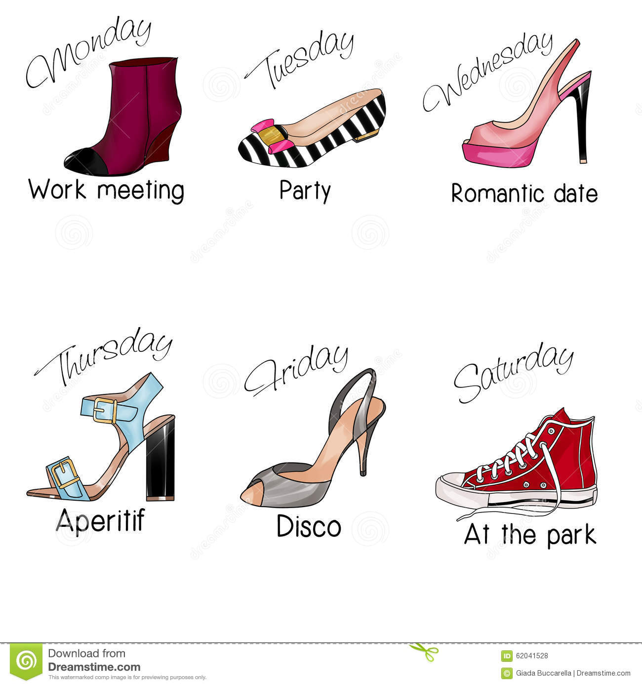 Days Of The Week And Different Types Of Shoes Stock