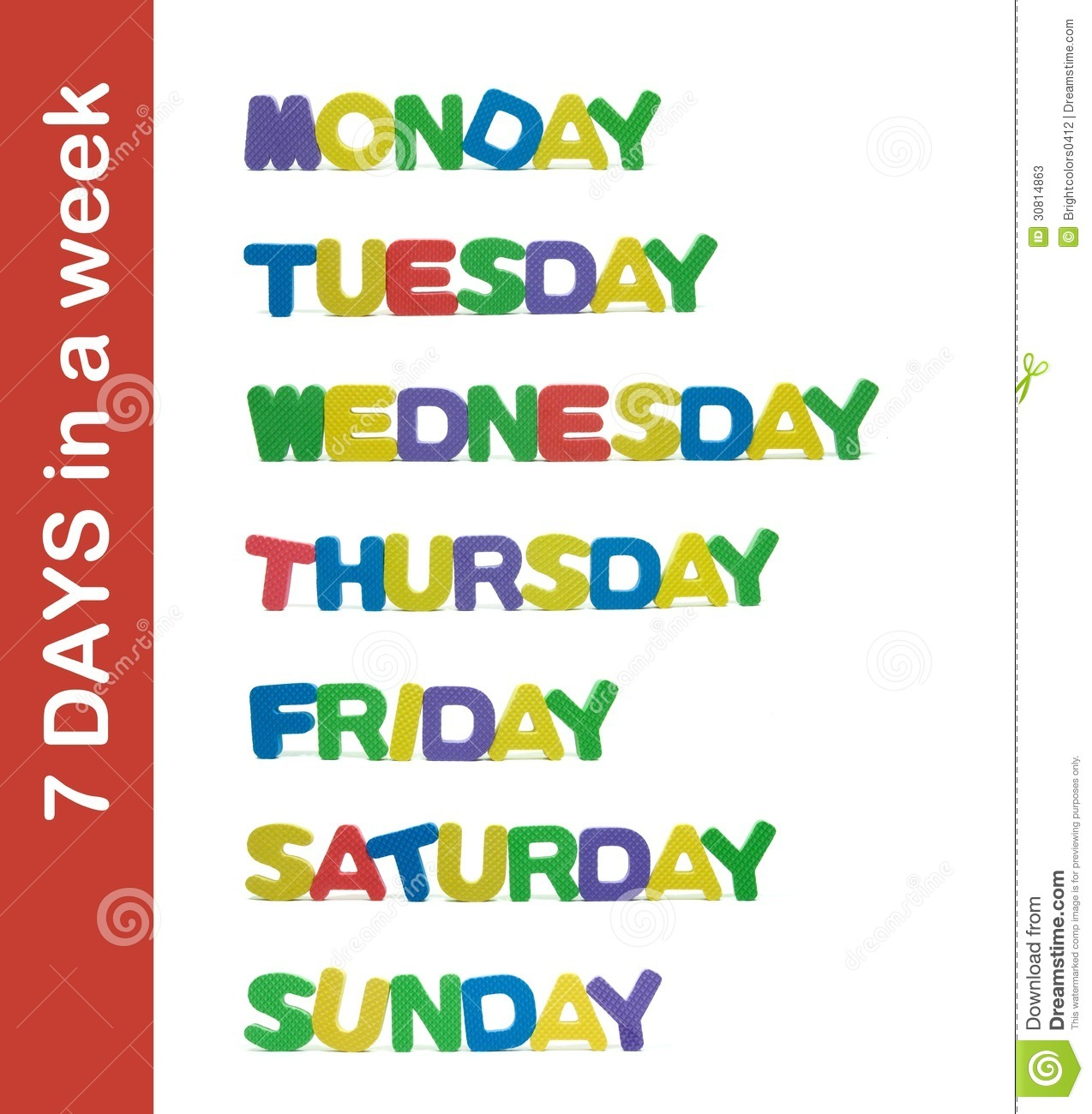 7 Days In A Week Letter Stock Image Image Of Week Saturday