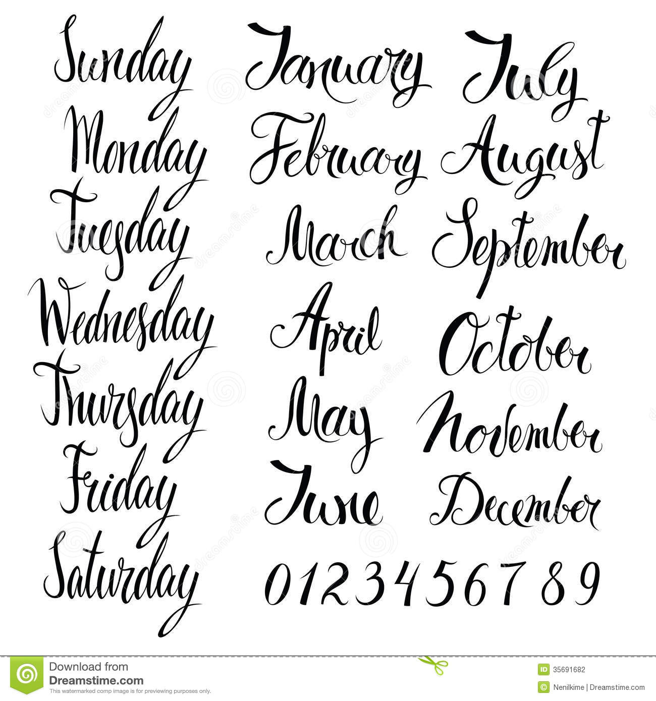 Days Of The Week Months And Numbers Stock Photography