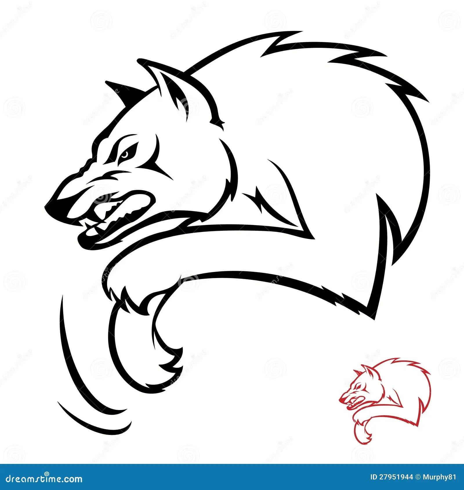 De aanval van de wolf vector illustratie. Afbeelding
