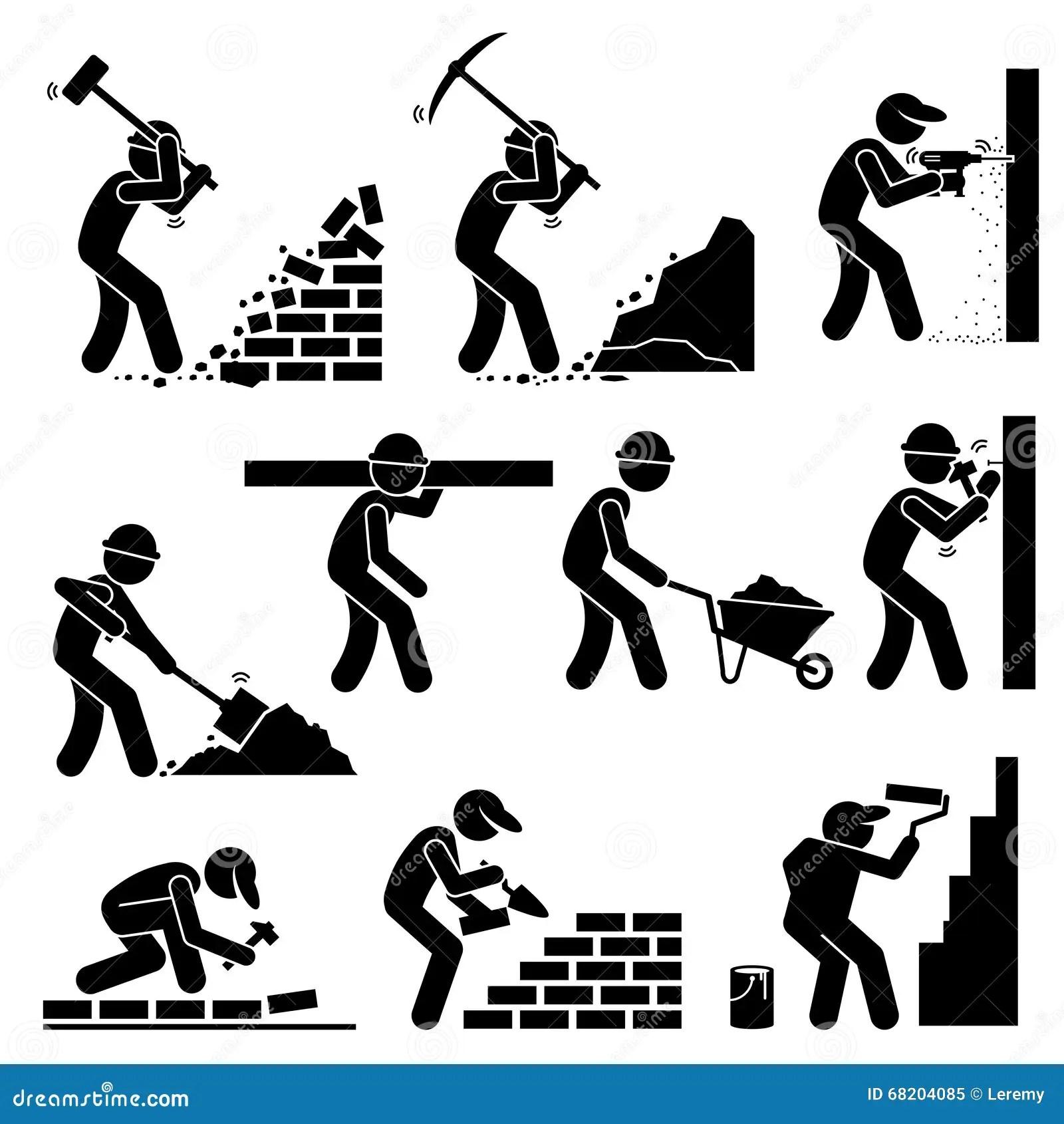 De Arbeiders Van Bouwersaannemers Huizen Clipart