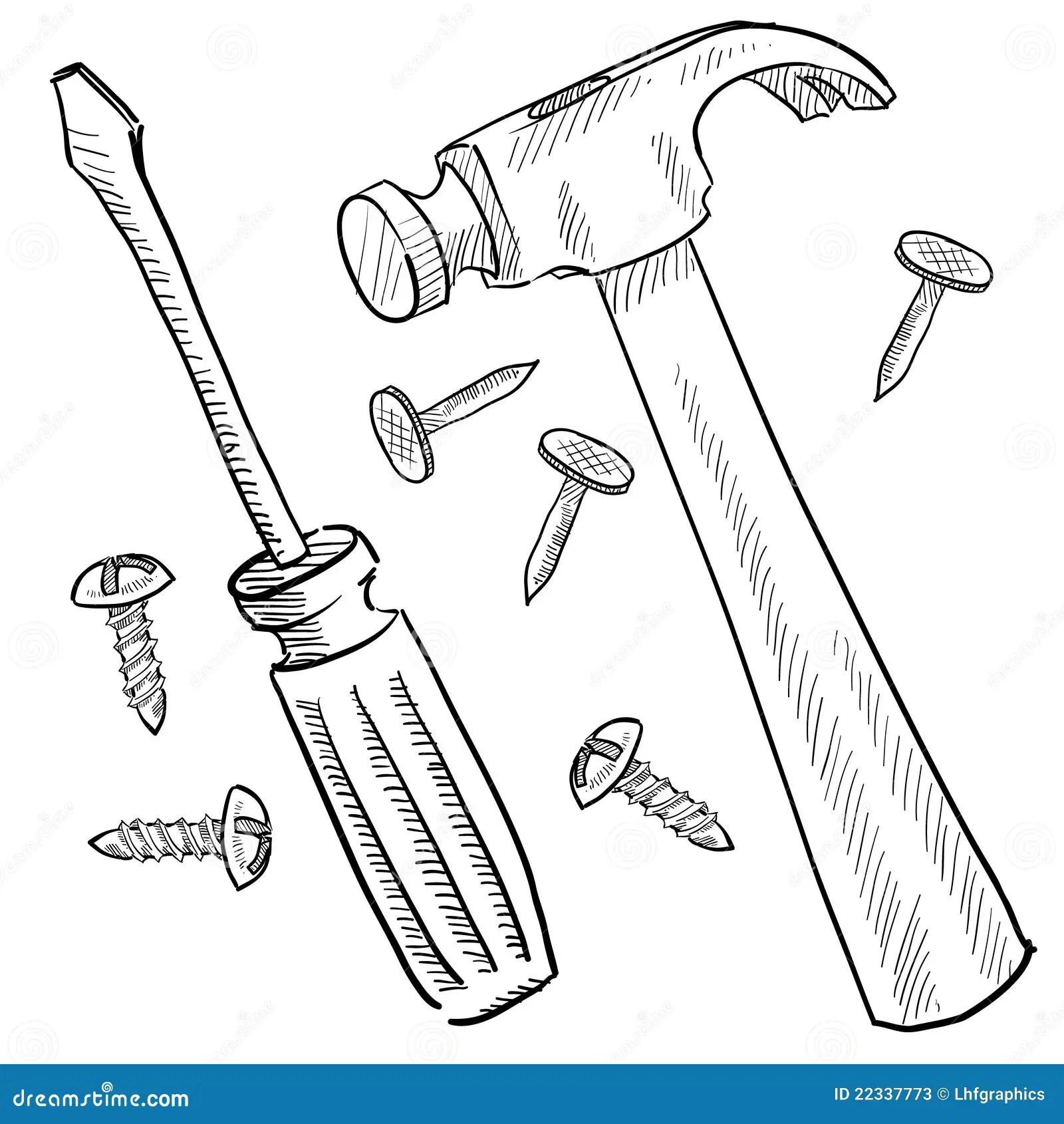 De Hulpmiddelenschets Van De Bouw Vector Illustratie