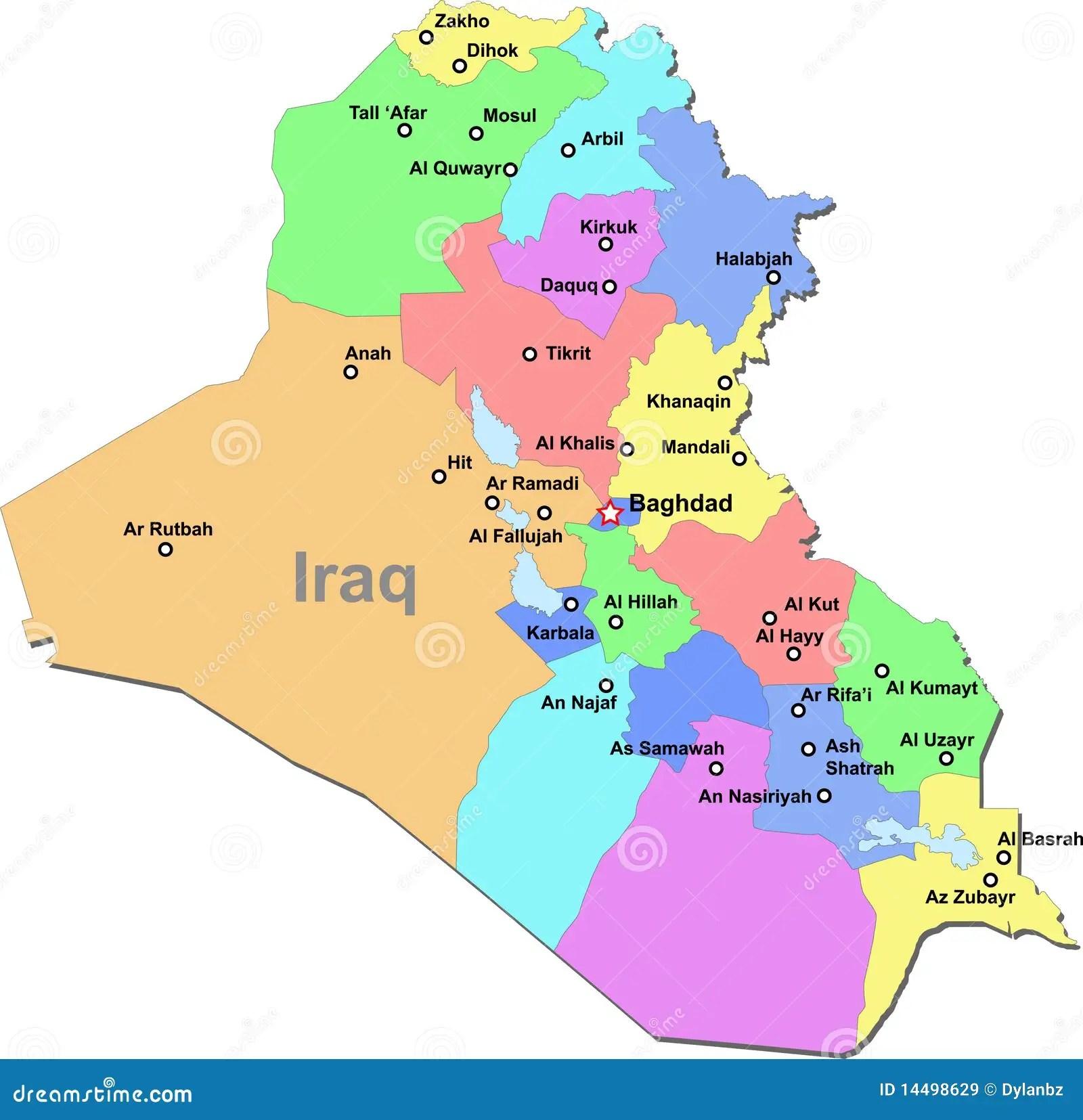 De Kaart Van Irak Vector Illustratie Illustratie