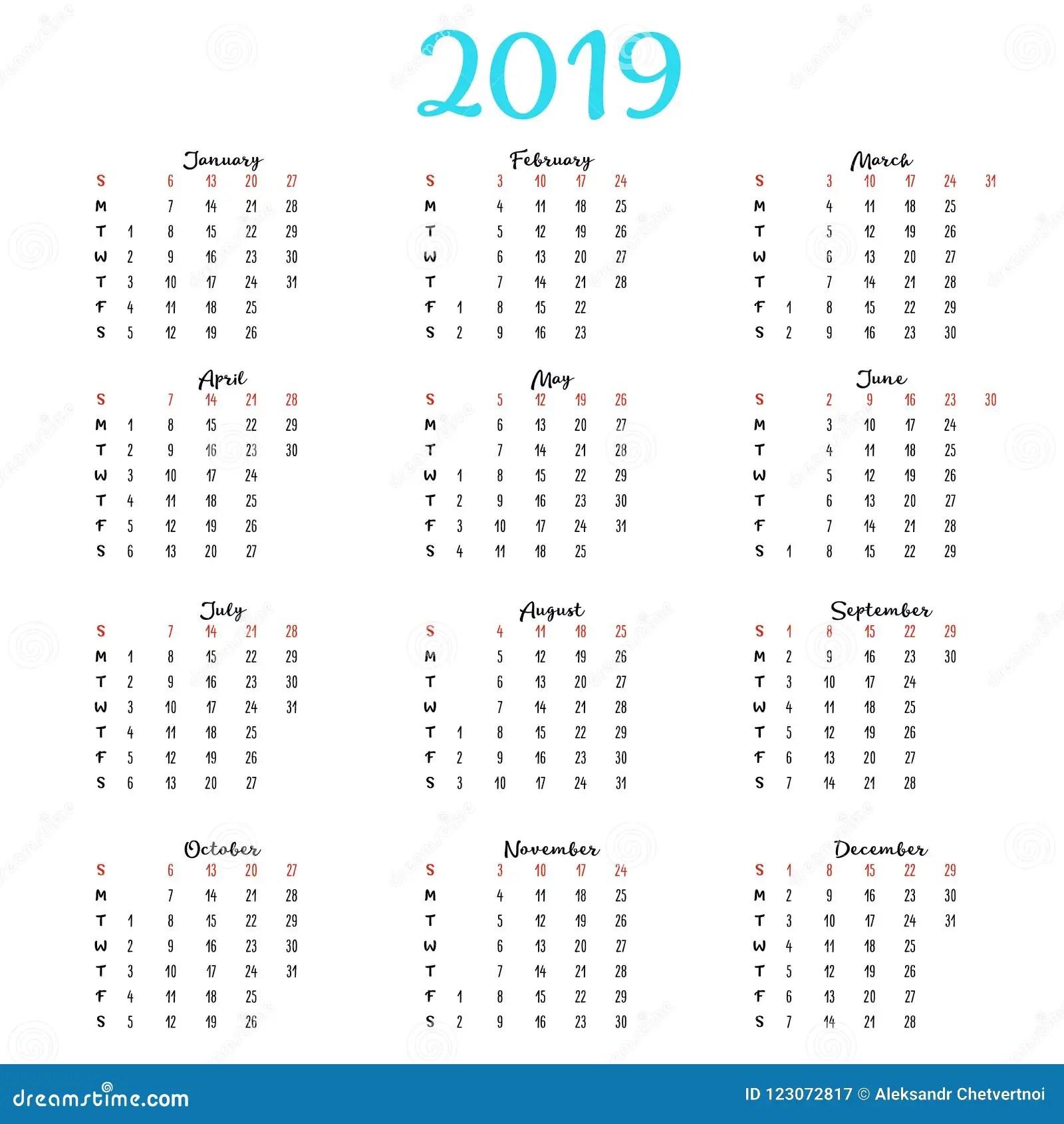 De Kalender 2019. Week Begint Van Zondag. Bedrijfsmalplaatje Concept. Vector Verticaal Editable Malplaatje Stock Illustratie - Illustratie ...