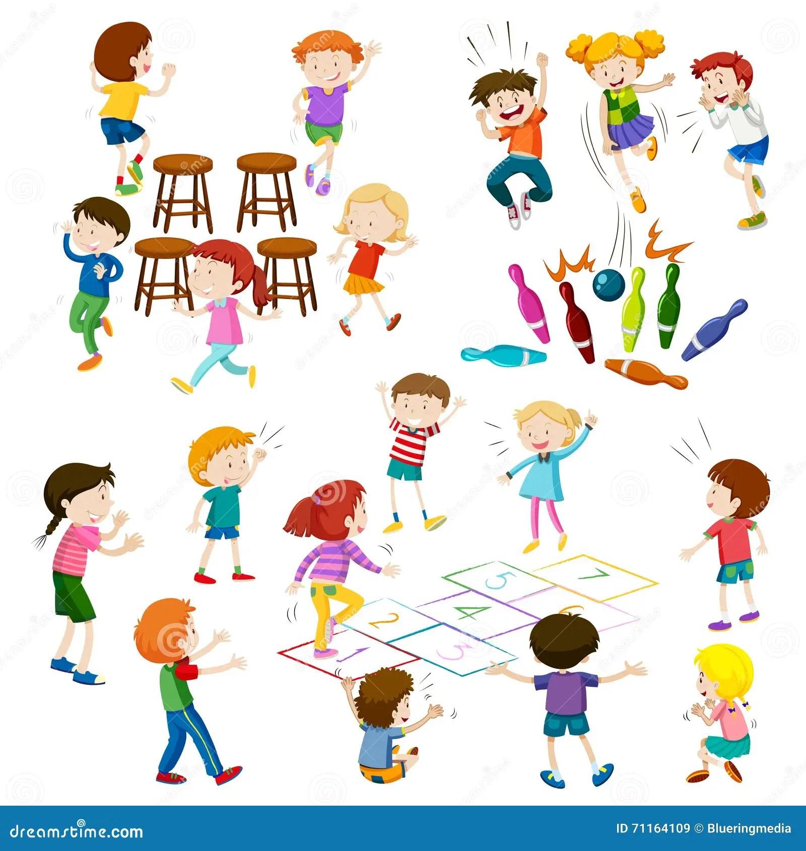 De Kinderen Spelen Verschillend Soort Spelen Vector