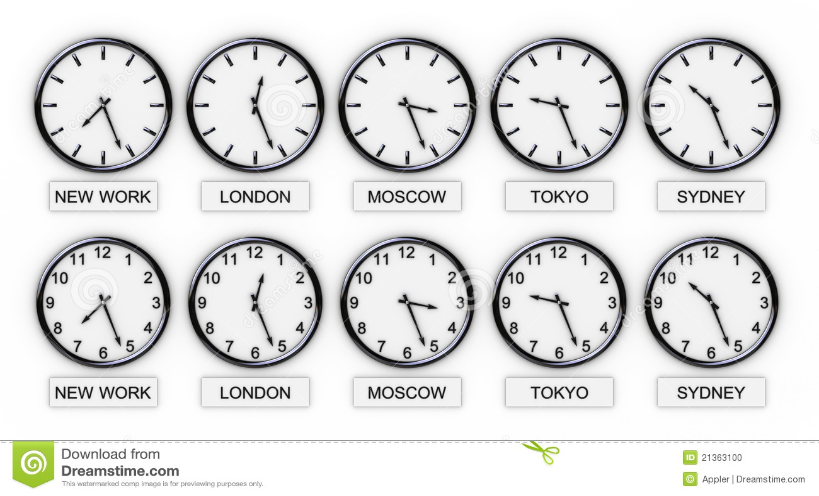 De Klokken Van De Wereld Tijd Stock Foto