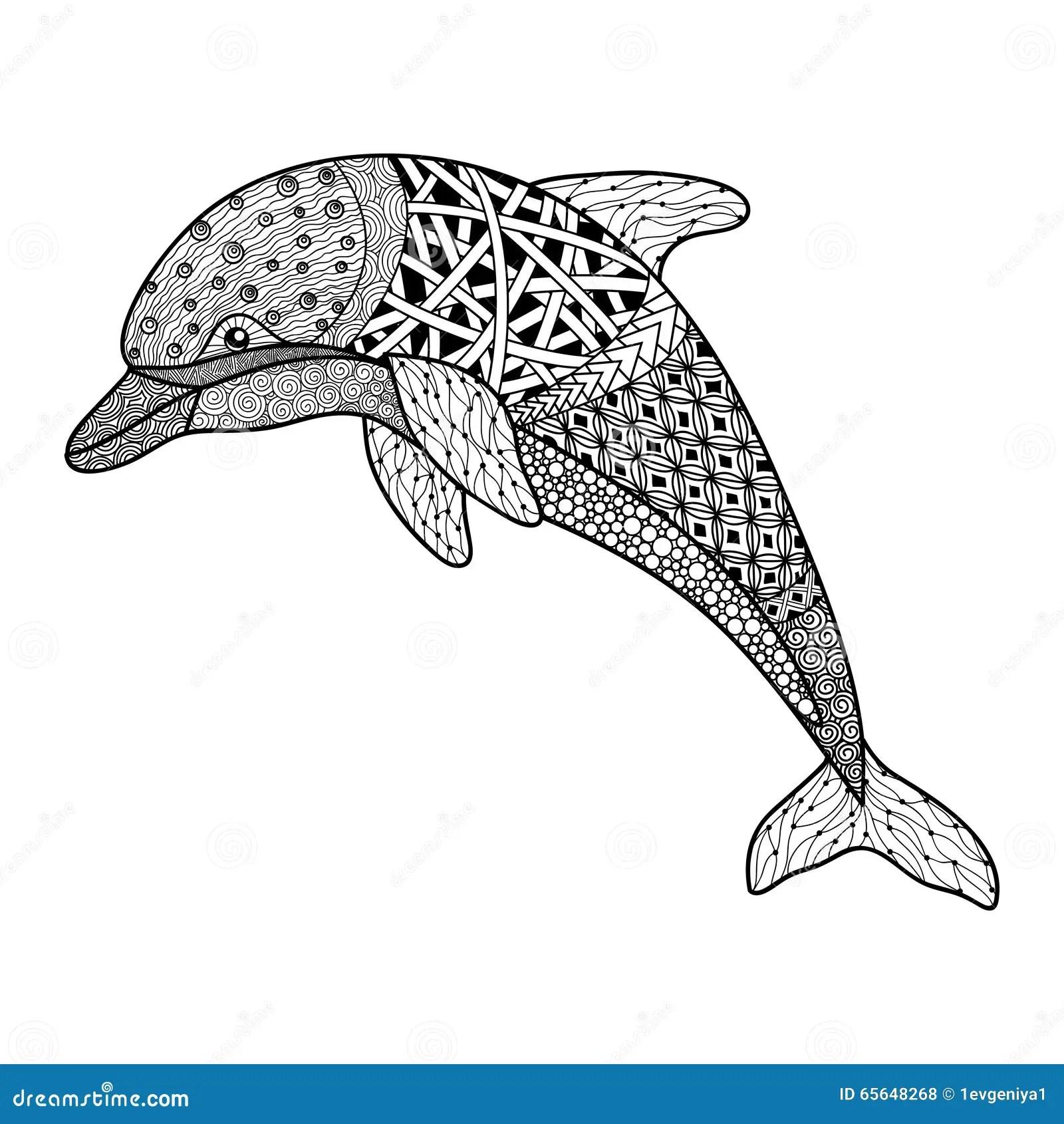 De Mooie Zwart Wit Zwart Witte Dolfijn Met Decoratief