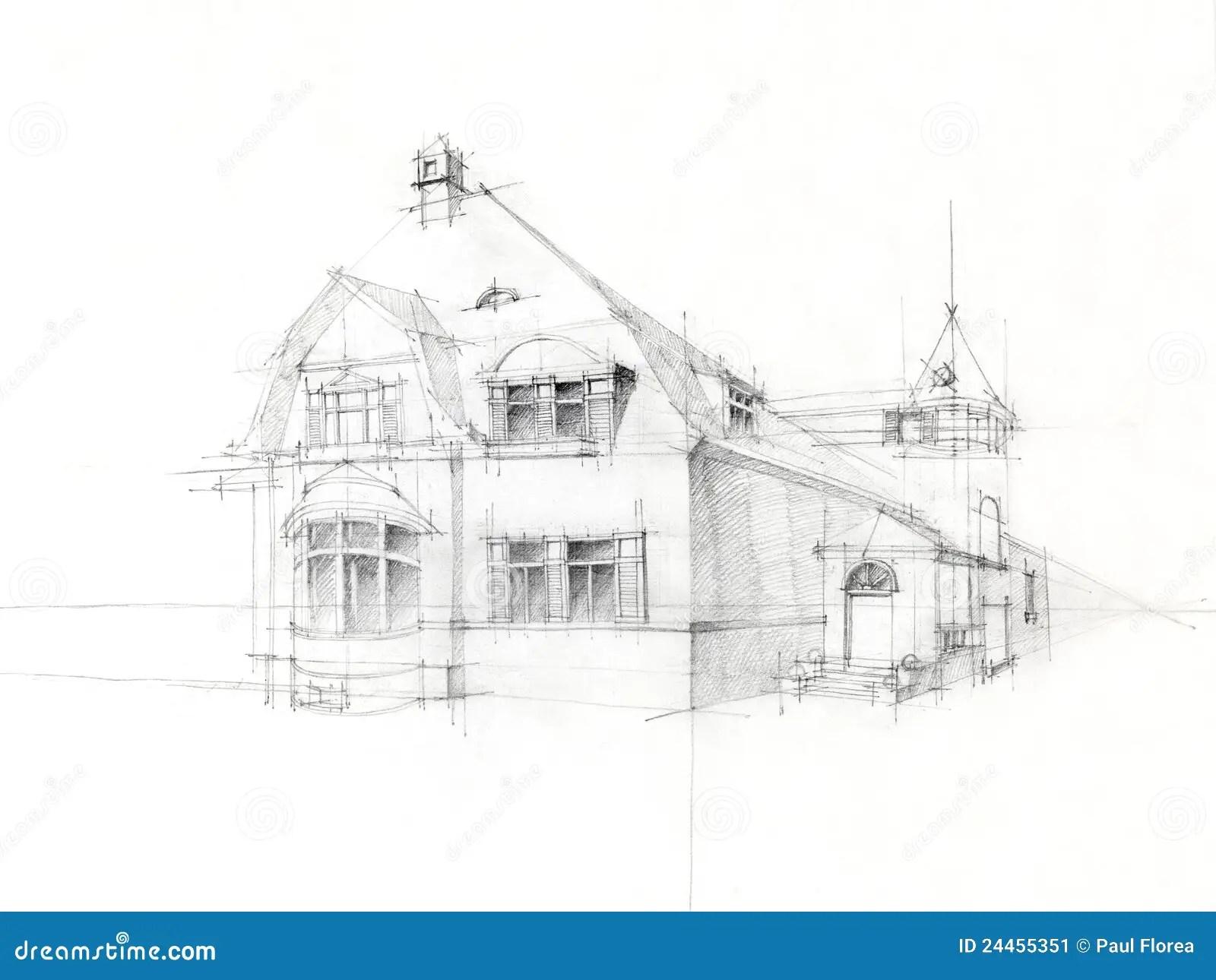 De Schets Oud Huis Van Het Potlood Op Witboek Stock