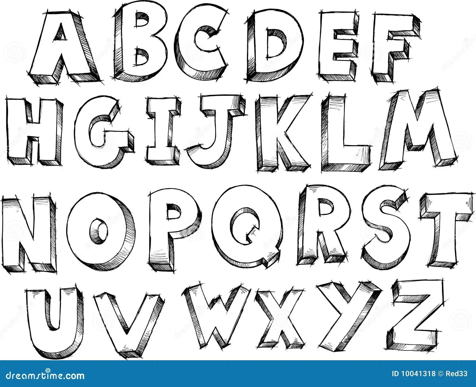 De Schetsmatige Vector Van Het Alfabet Vector Illustratie