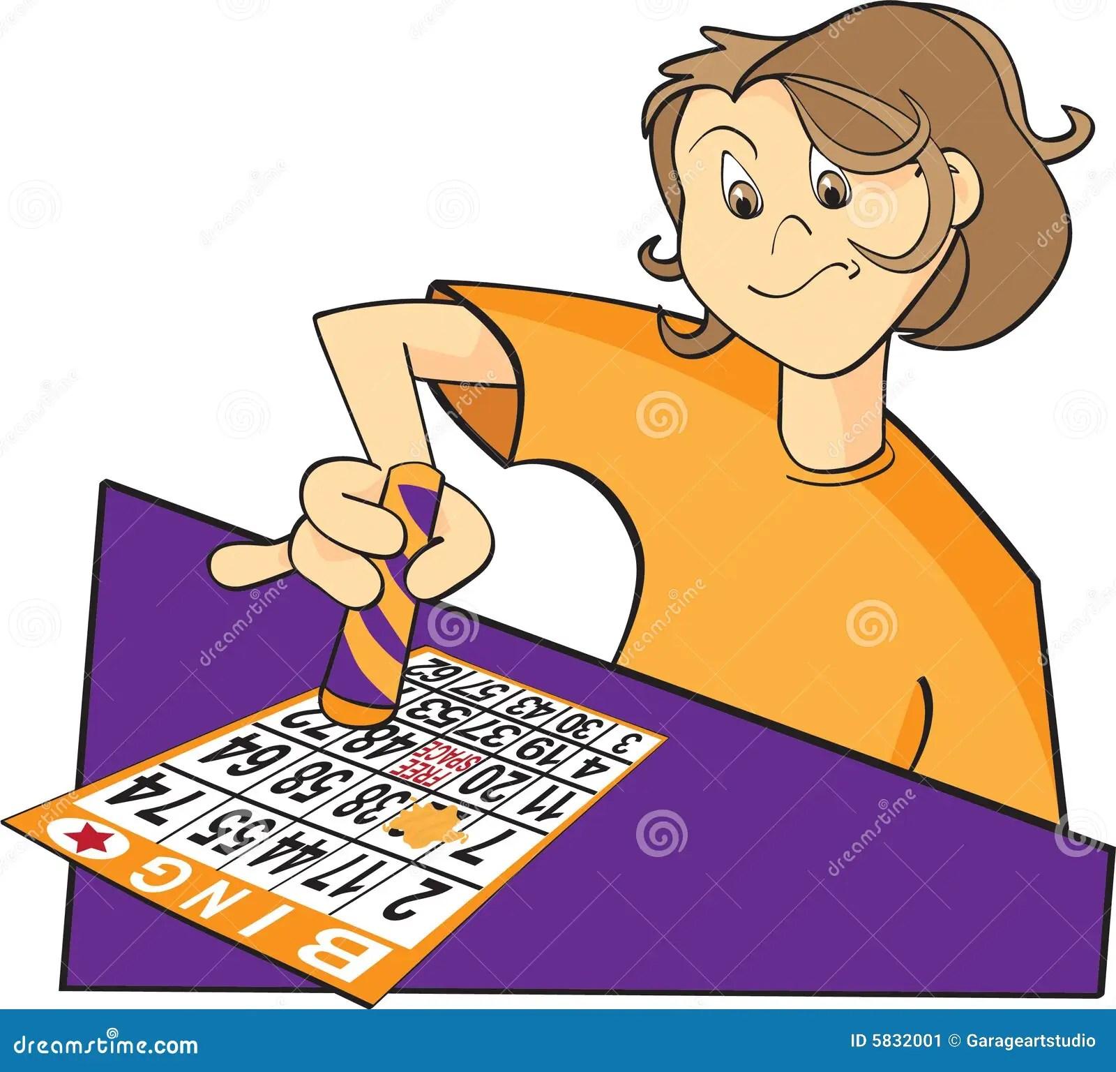De Spelerillustratie Van Bingo Vector Illustratie