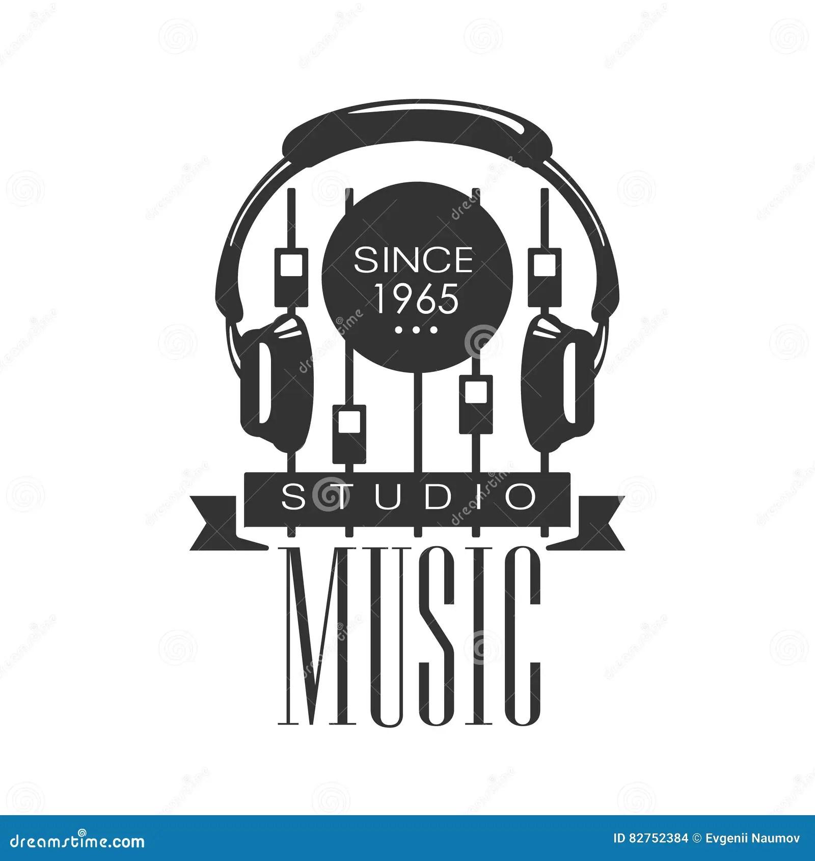 De Studio Zwart-wit Logo Template With Sound Recording Van
