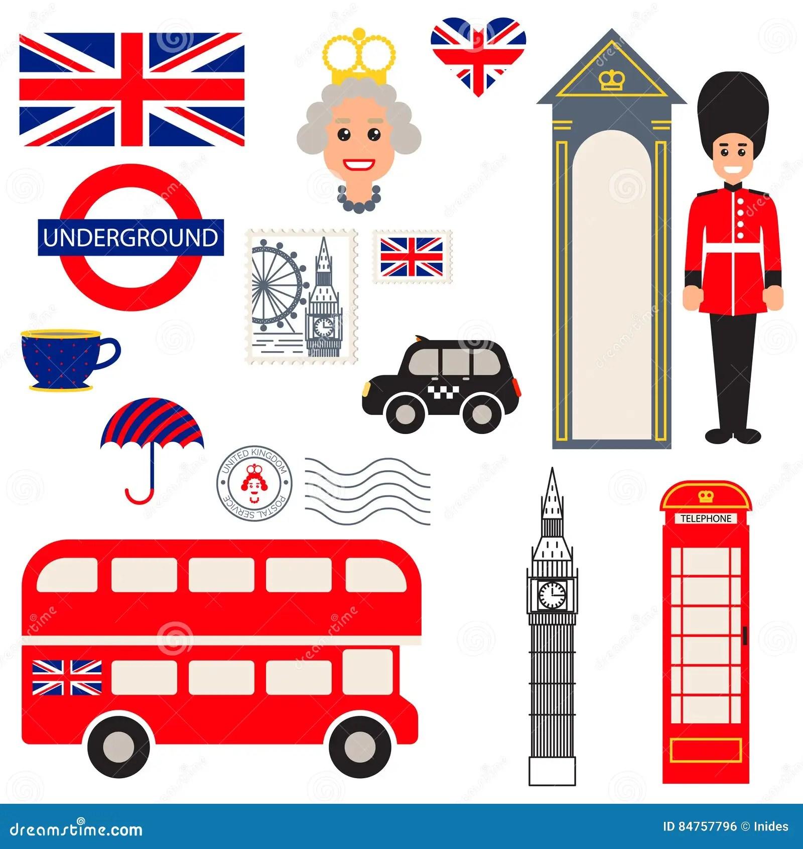 De Vector Traditionele Symbolen Van Engeland Redactionele