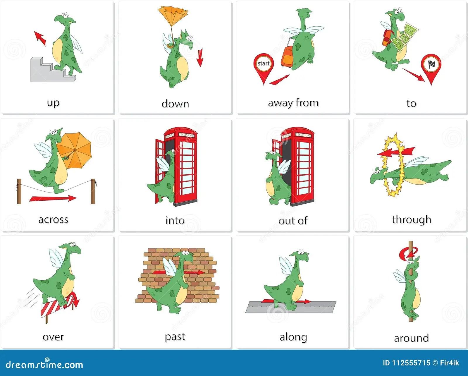 De Voorzetsels Van De Beeldverhaaldraak Van Beweging Engelse Grammatica In Pict Vector