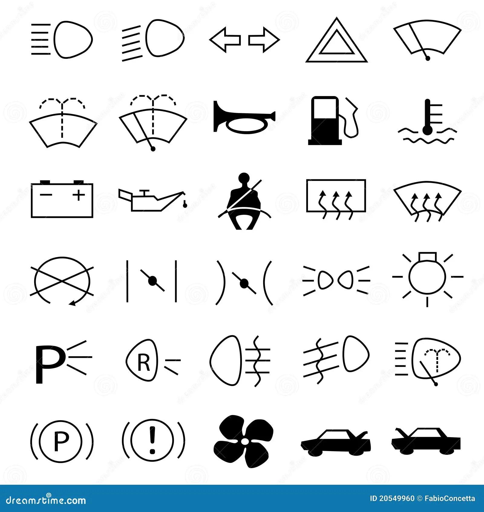 De Waarschuwingssymbolen Van De Auto Vector Illustratie
