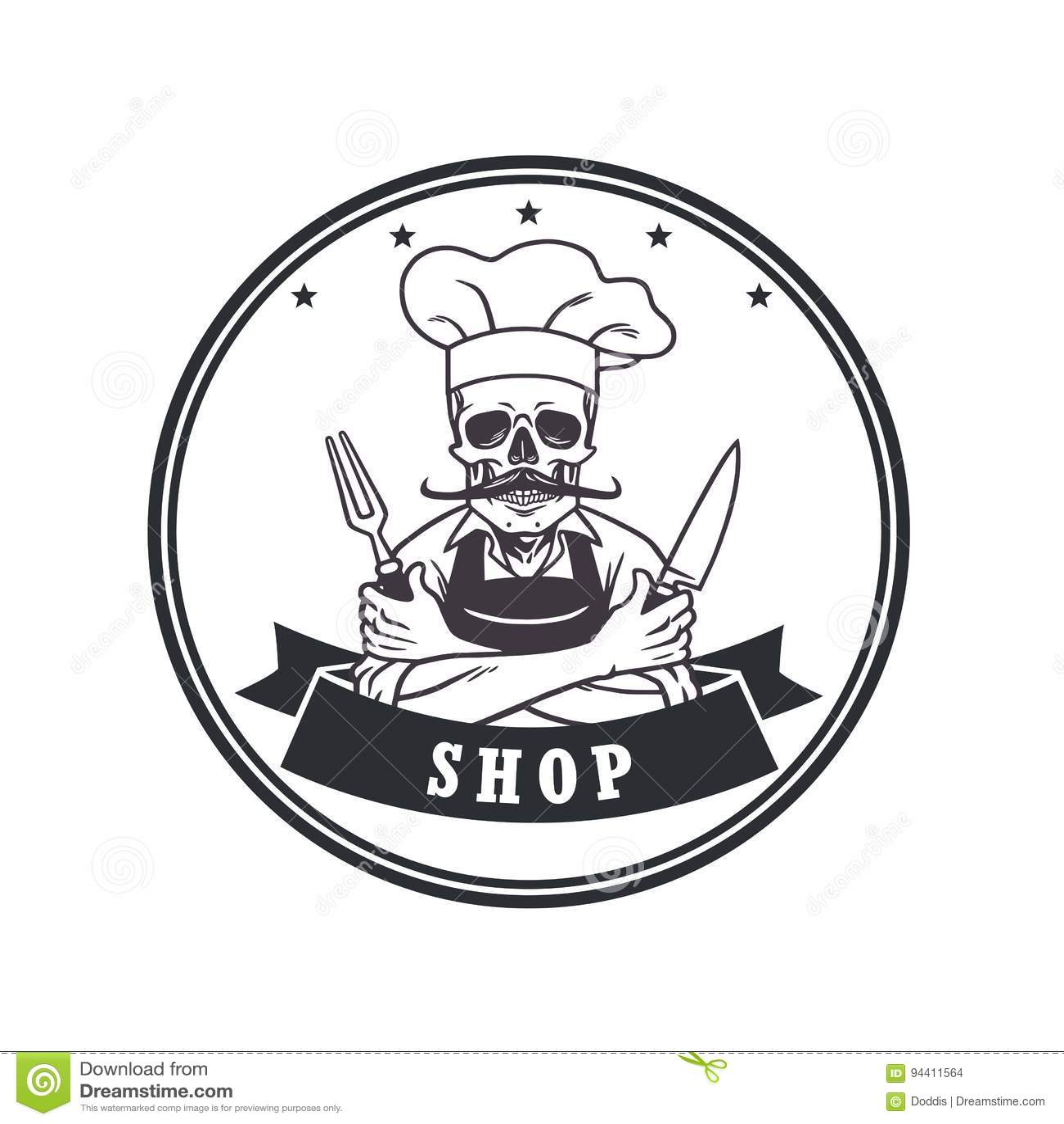 French Cuisine Chef Logo Vector Illustration
