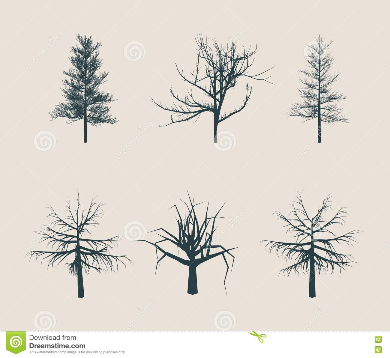 Dead Tree Without Leaves Silhouettes Stock Vector