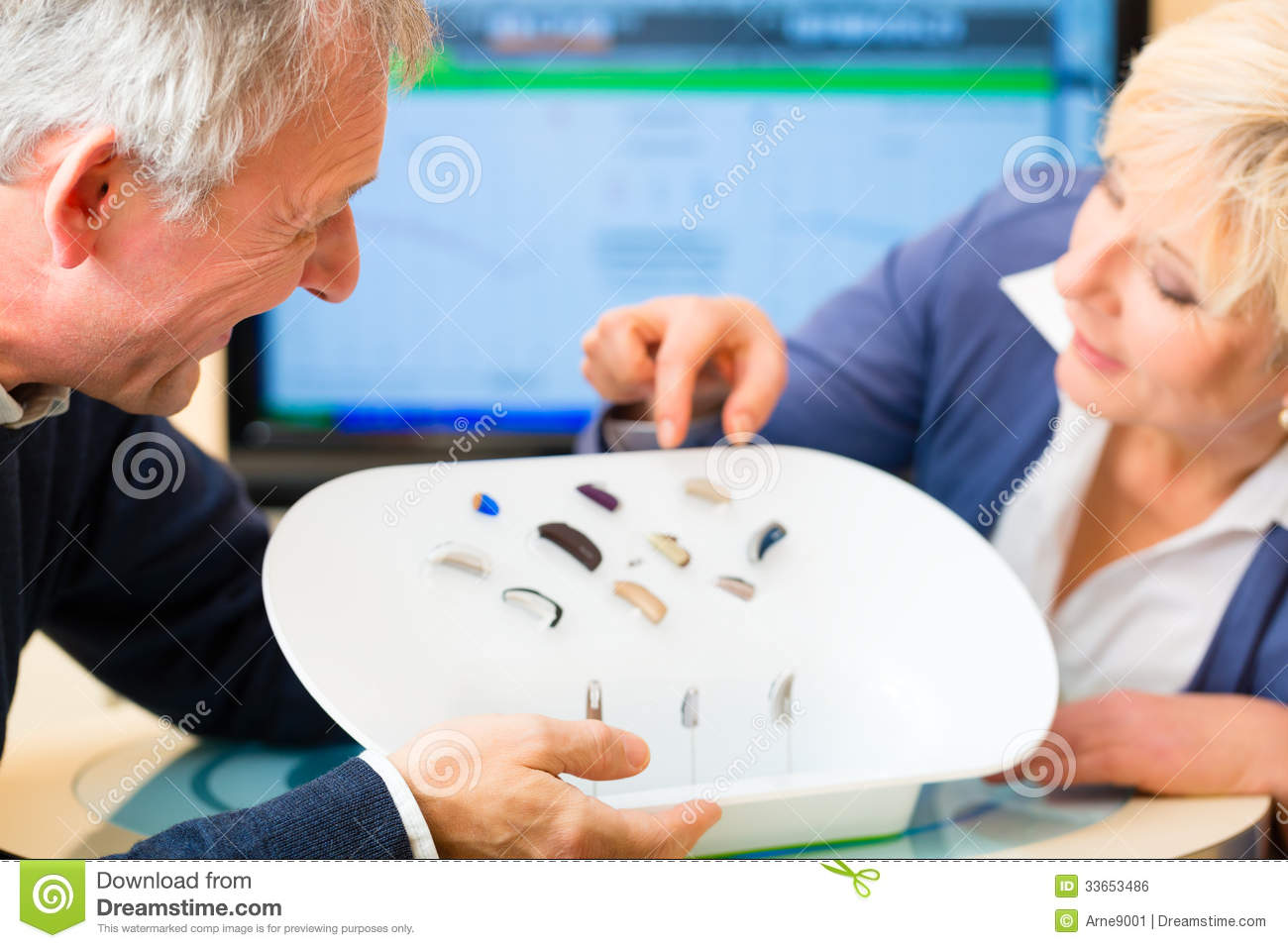 Deaf People Taking A Hearing Test Royalty Free Stock Image
