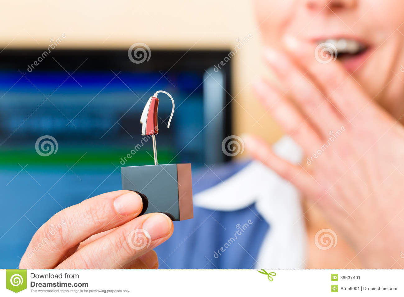 Deaf Woman With Hearing Aid Stock Image