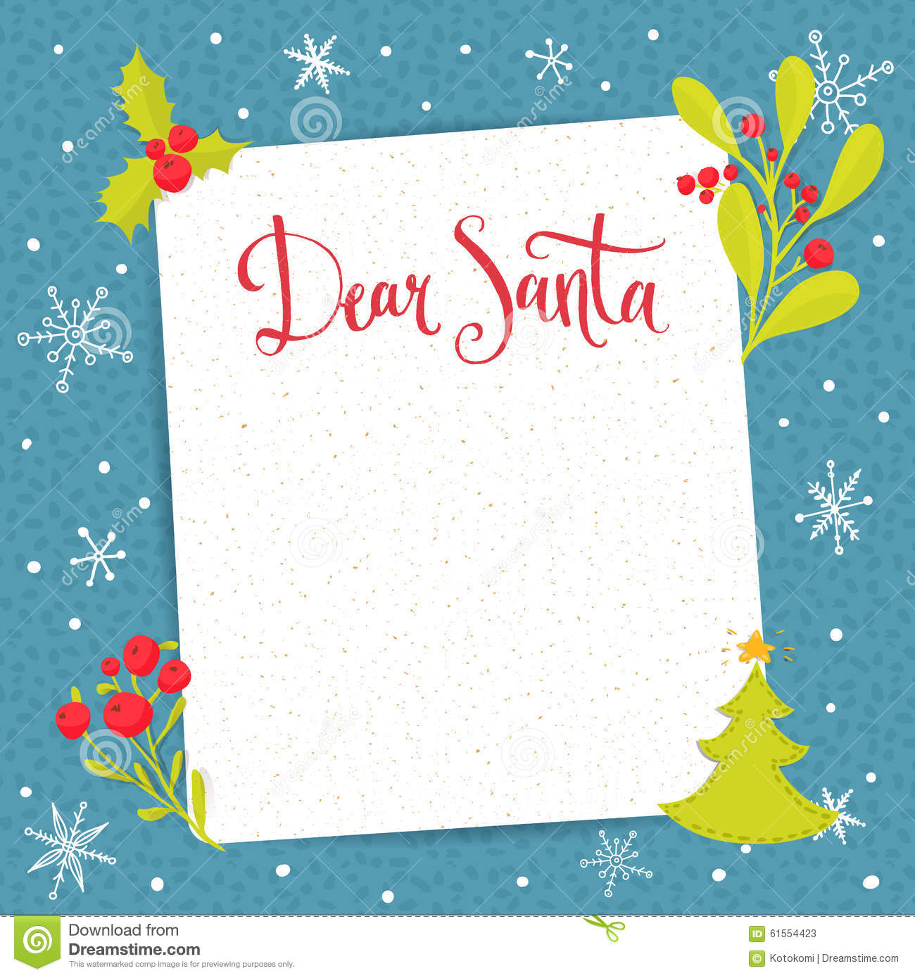 Dear Santa Letter To Santa Claus With Blank Stock Vector Image 61554423