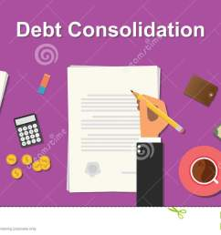 debt consolidation business concept illustration terms with business man hand writing working on graph chart money [ 1300 x 740 Pixel ]