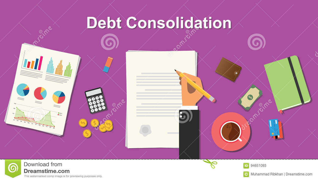 hight resolution of debt consolidation business concept illustration terms with business man hand writing working on graph chart money