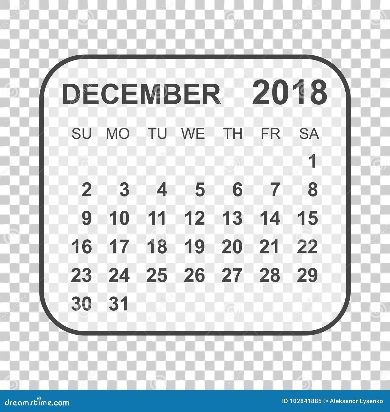 December 2018 Calendar. Calendar Planner Design Template