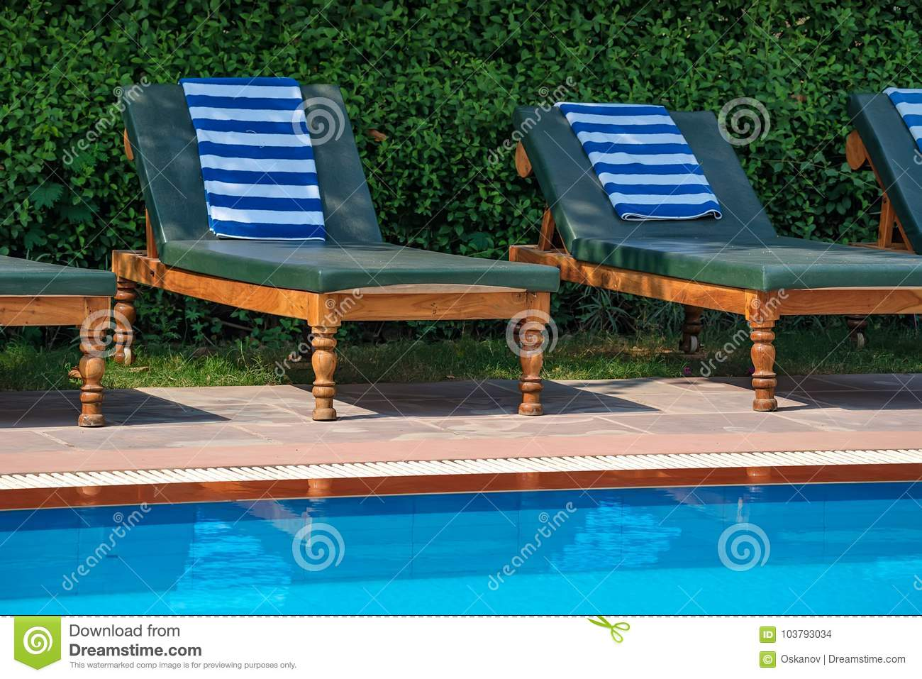 Pool Deck Chairs Deck Chairs Near The Swimming Pool Stock Photo Image Of Sand