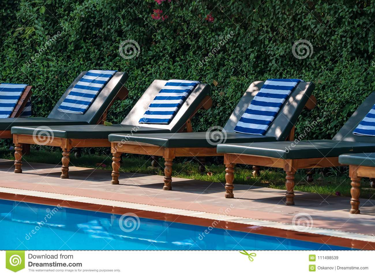 Pool Deck Chairs Deck Chairs Near The Swimming Pool Stock Image Image Of