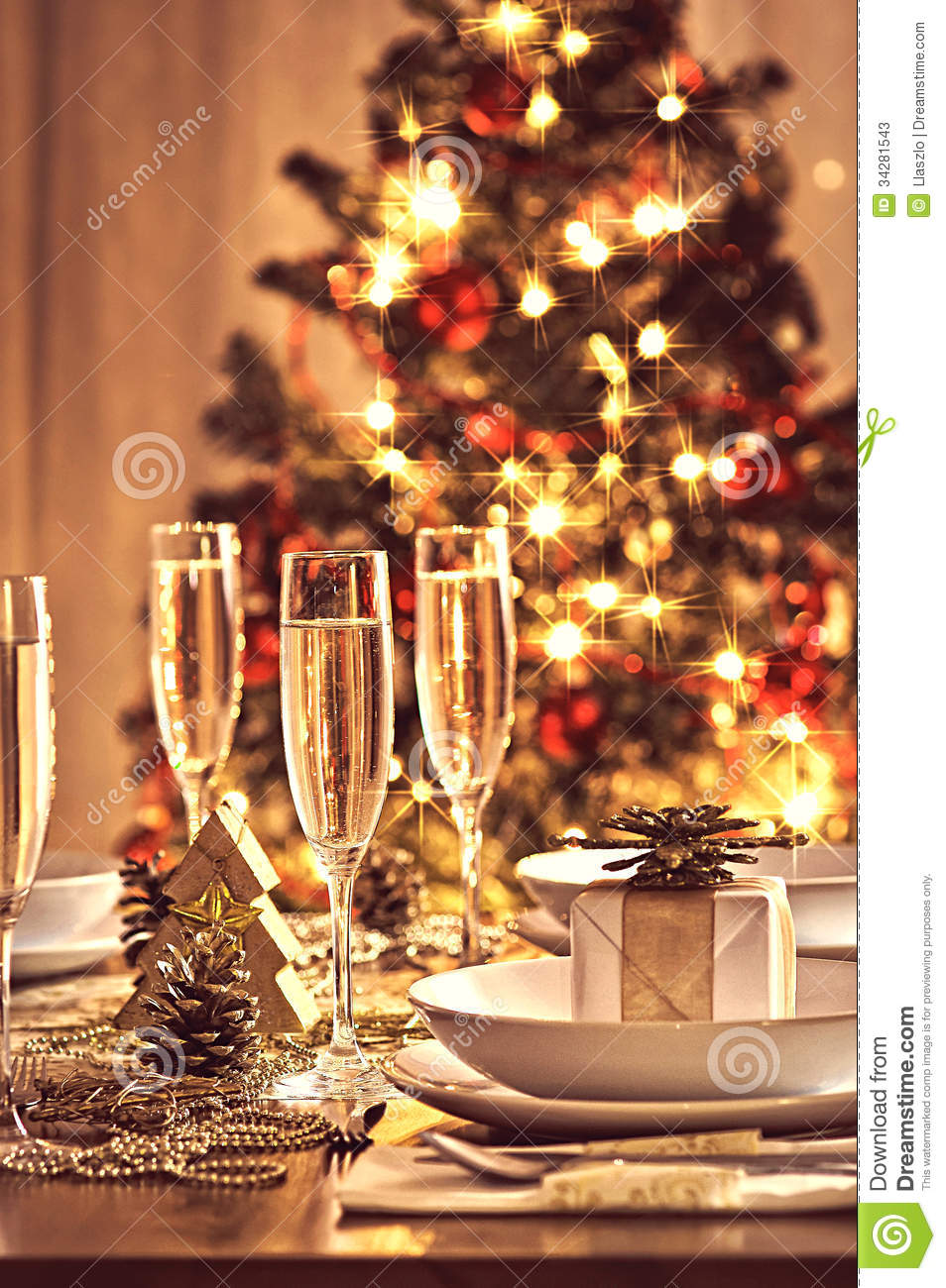 Decorated Christmas Dining Table Stock Photos  Image