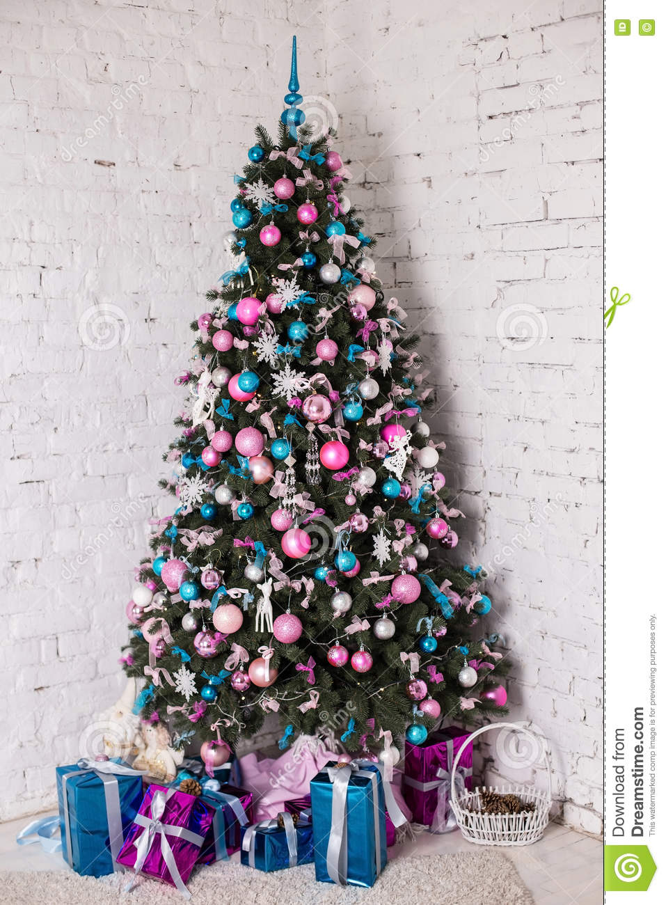 White christmas tree with blue and silver decorations - Decorated Christmas Tree On White Background Stock Photo Image