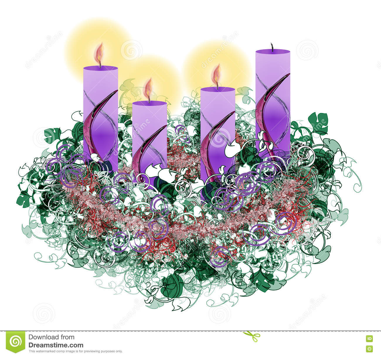 hight resolution of decorated floral advent wreath with three advent candles burning