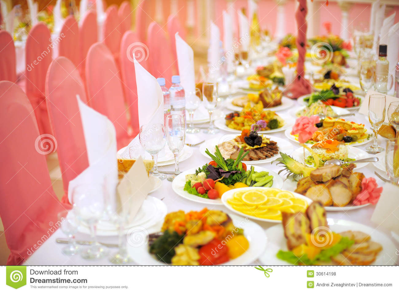Food Chair Decorated Food Table Royalty Free Stock Photos Image
