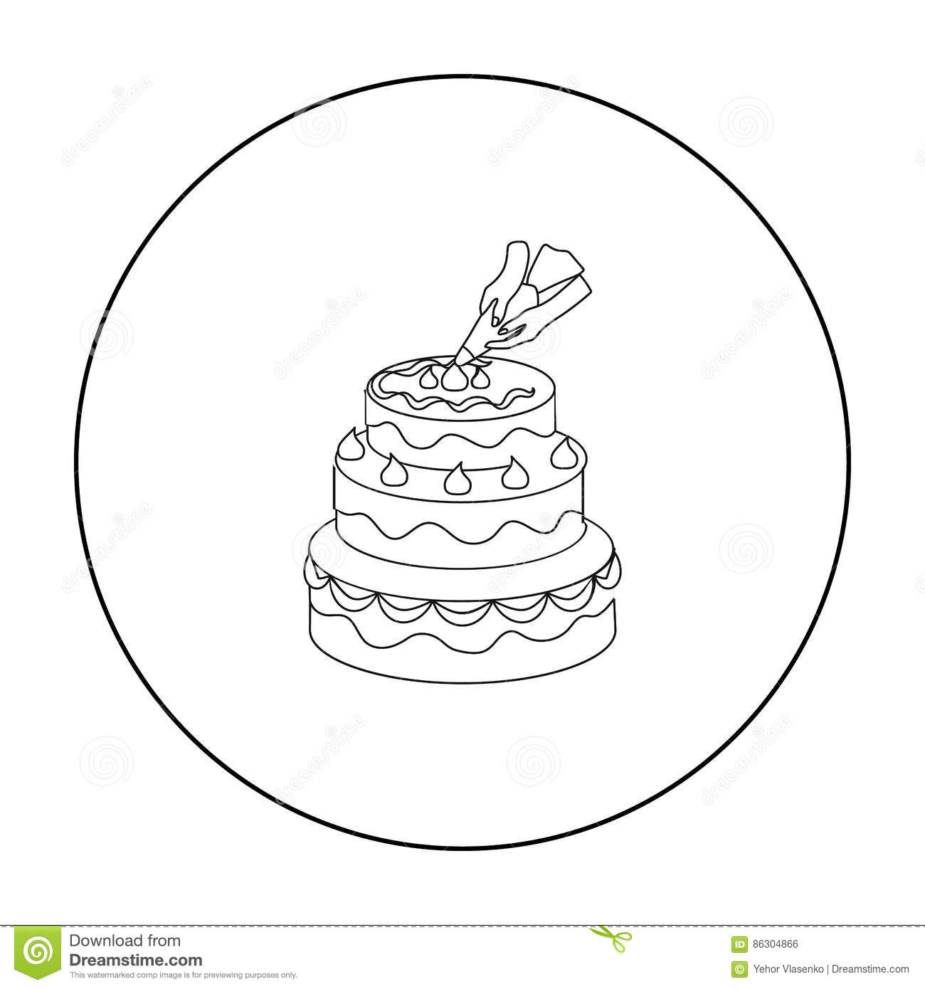 Decorating Of Birthday Cake Icon In Outline Style Isolated