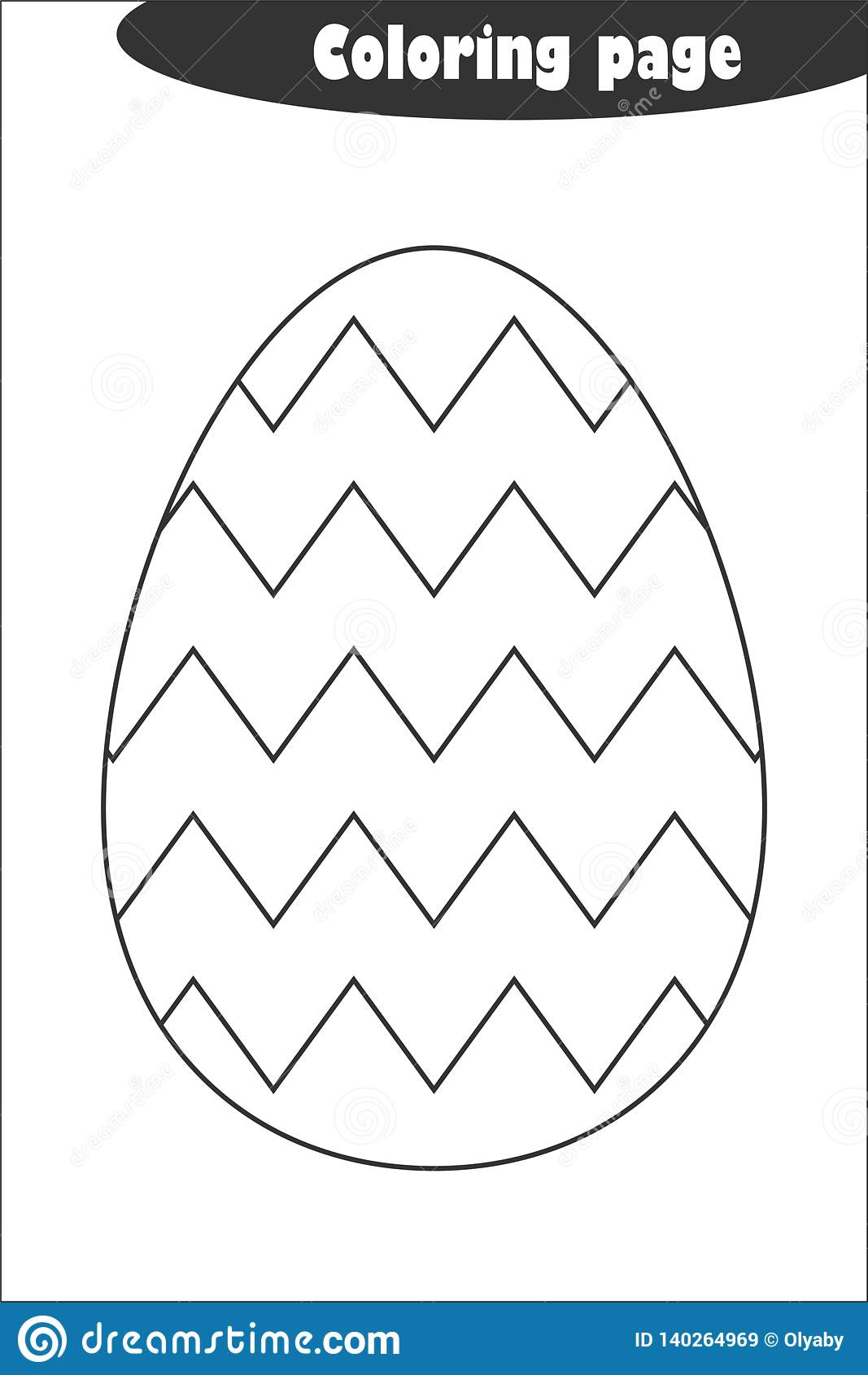 Decoration Egg Zigzag In Cartoon Style Coloring Page