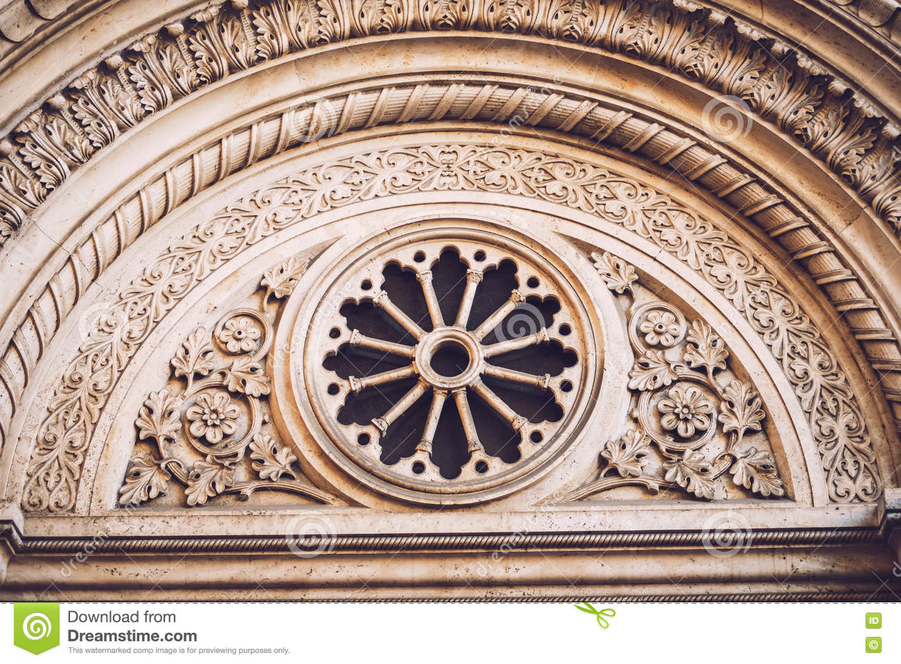 Decorative Arch On Top Of Doors In Rome Italy Stock
