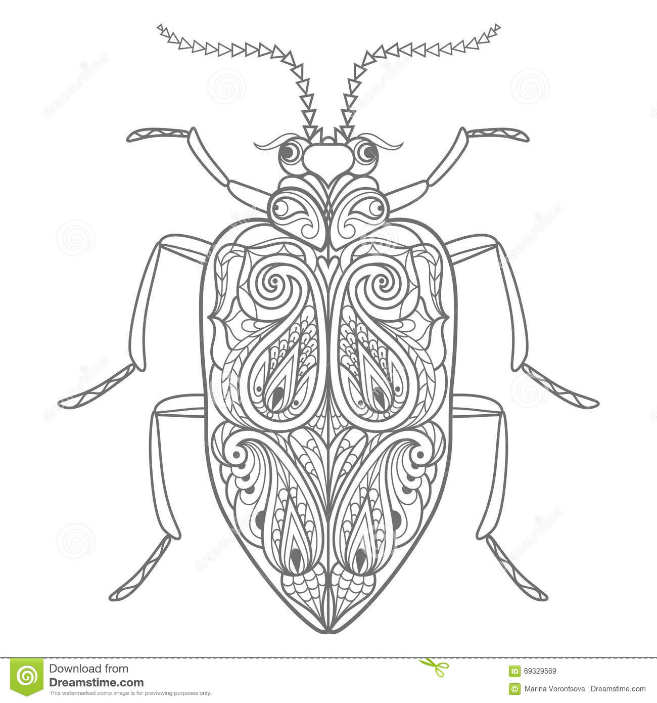 Decorative beetle. stock vector. Illustration of drawing