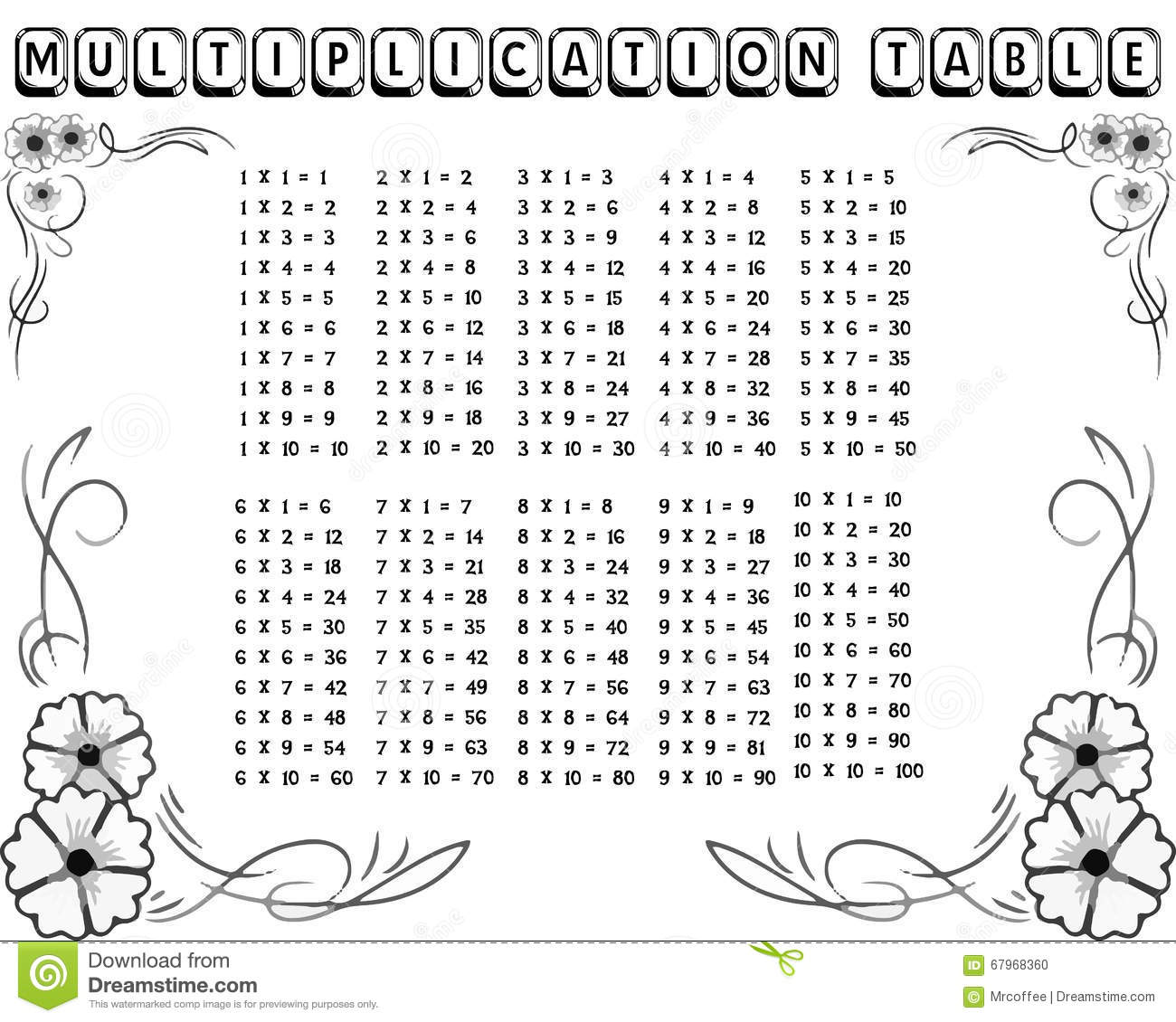 Decorative Black And White Multiplication Table Stock