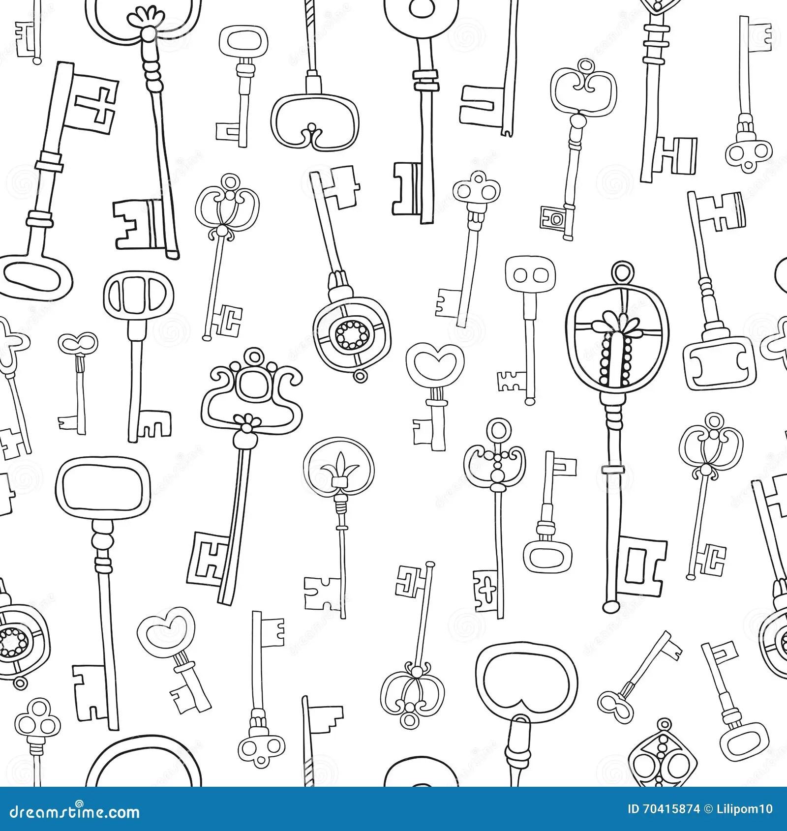 Decorative Black And White Vintage, Antique Keys For