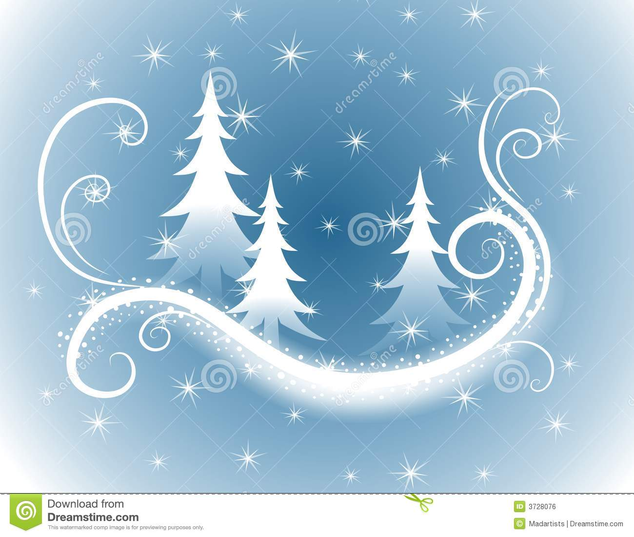 Decorative Blue Christmas Trees Background Stock