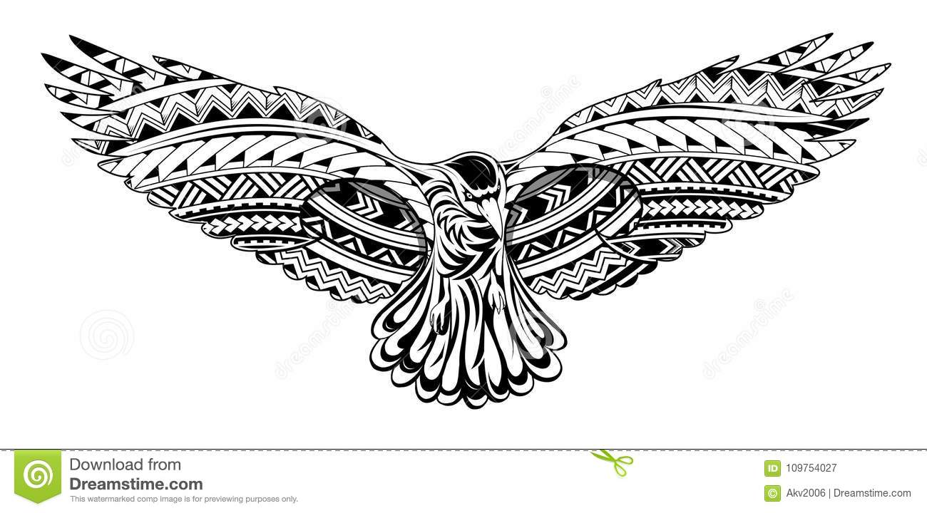 Crow Tattoo With Maori Style Ornaments Stock Vector Illustration