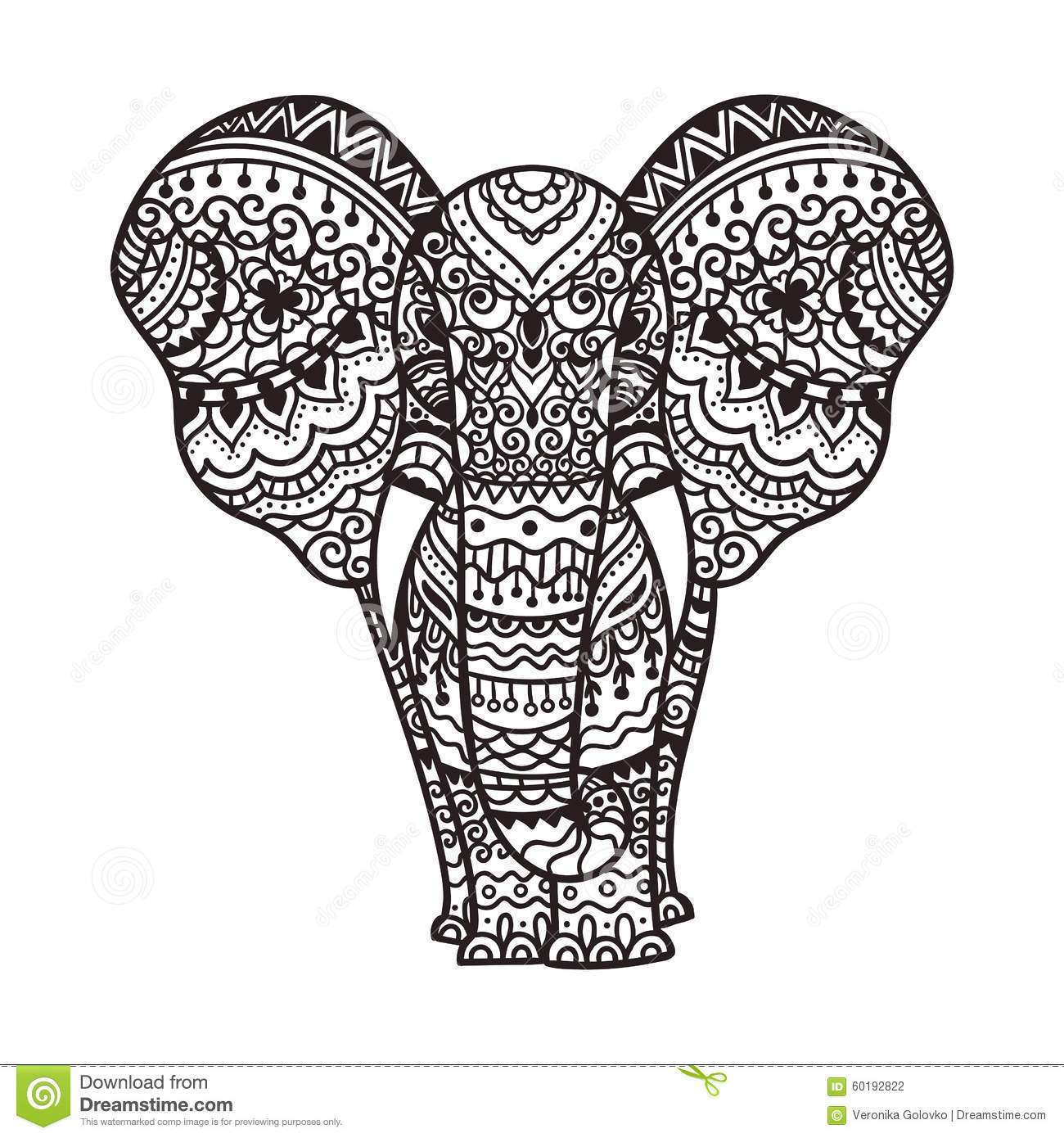 Decorative Elephant Illustration Stock Vector