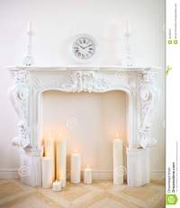 Decorative Fireplace With Candles Stock Photography ...