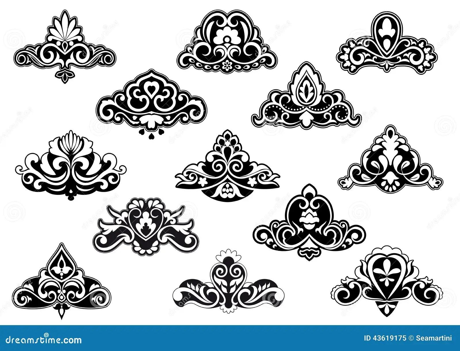 Decorative Floral Design Elements And Motifs Stock Vector