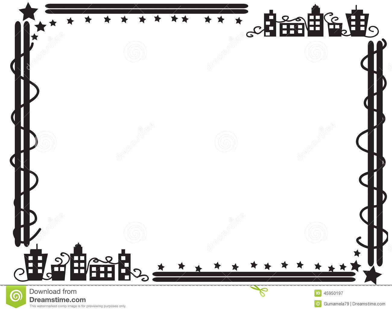 Decorative Frame Border Of Buildings Stock Illustration