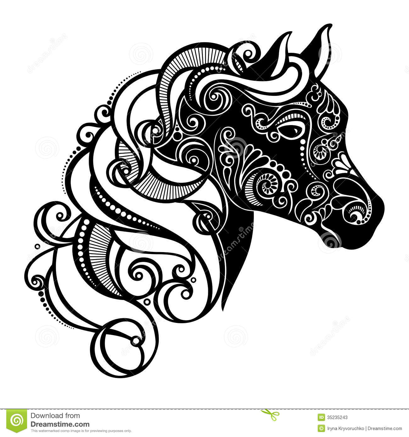 Decorative Horse With Patterned Mane Stock Photos