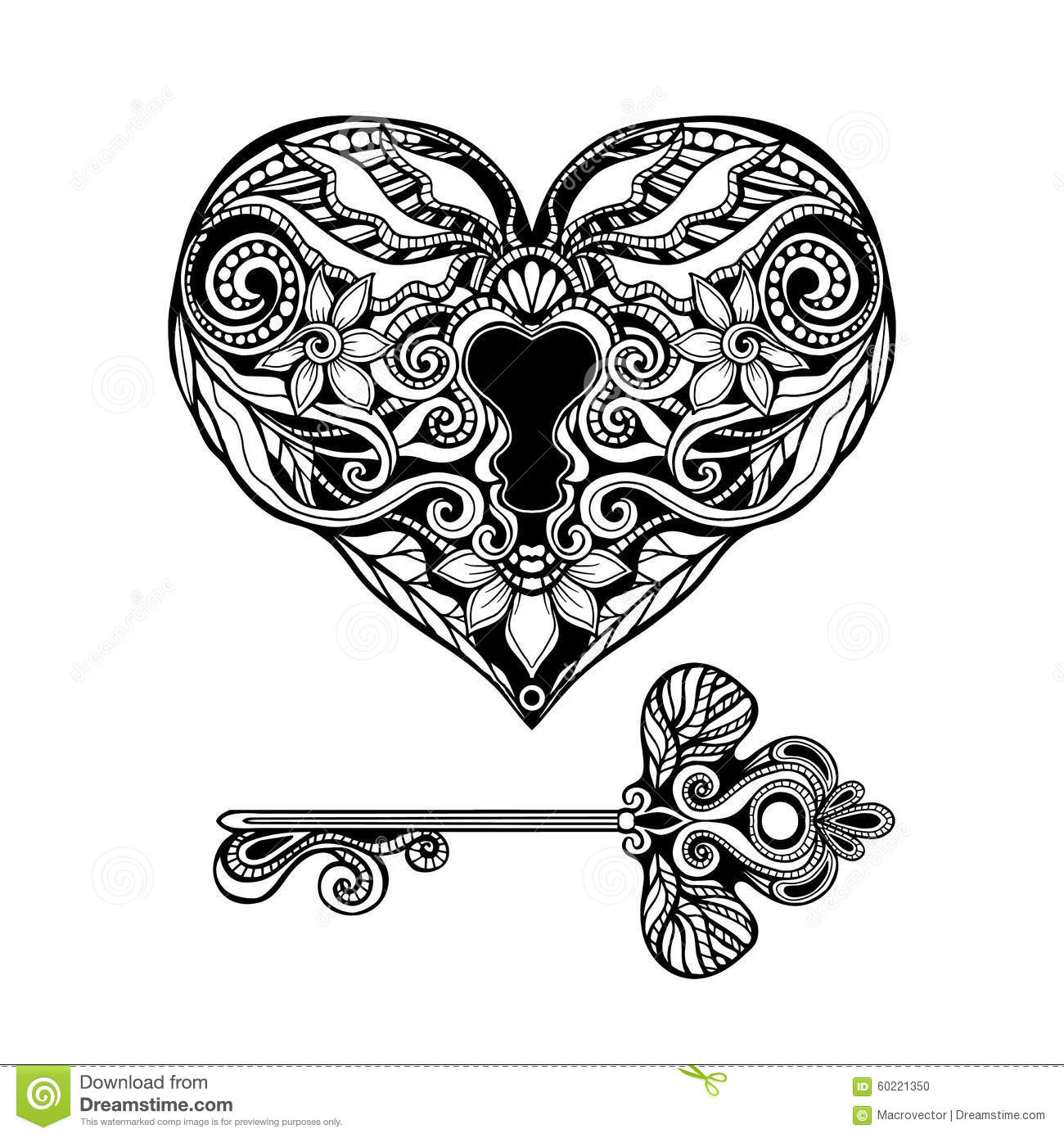 Decorative Key And Lock Stock Vector Illustration Of
